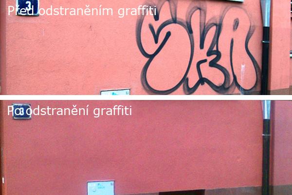 100% odstranění graffity na probarvených omítkách Praha